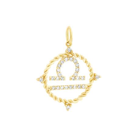Libra Zodiac Pendant with 0.20 Carat TW of Diamonds in 10kt Yellow Gold
