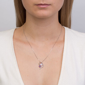 Pendant with Amethyst & Diamonds in Sterling Silver