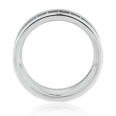 Men's 8.5mm Patterned Ring in White Tungsten