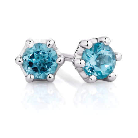 Stud Earrings with Blue Topaz in Sterling Silver