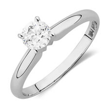 Solitaire Engagement Ring with a 0.45 Carat Diamond in 14kt White Gold