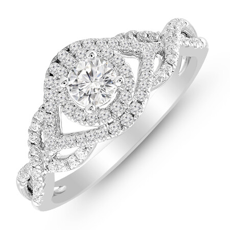 Ring with 0.65 Carat TW of Diamonds in 14kt White Gold