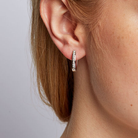Hoop Earrings with 1/3 Carat TW of Diamonds in 10kt White Gold