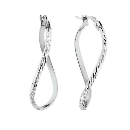 Patterned Twist Earrings in 10kt White Gold