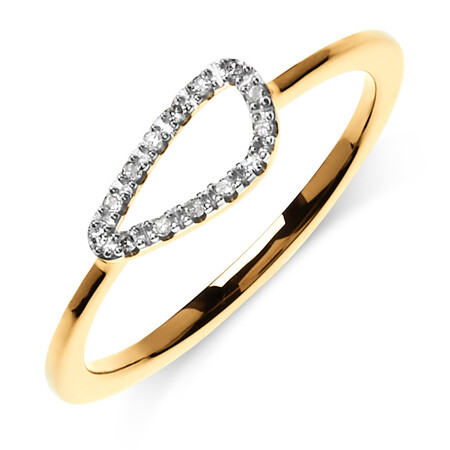 Organic Shape Ring with Diamond in 10kt Yellow Gold