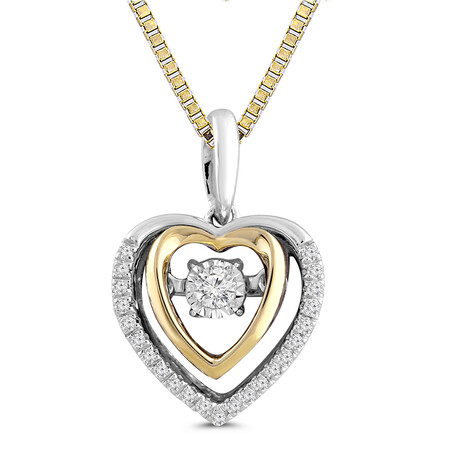 Everlight Pendant with Diamonds in 10kt Yellow Gold and Sterling Silver
