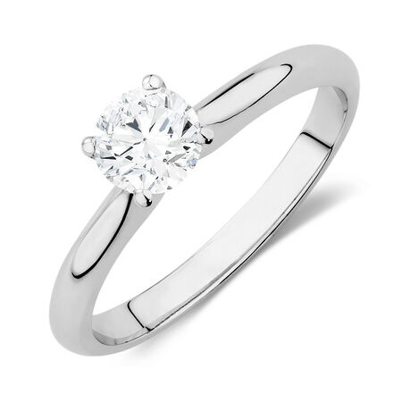 Certified Solitaire Engagement Ring with a 0.70 Carat TW Diamond in 14ct White Gold