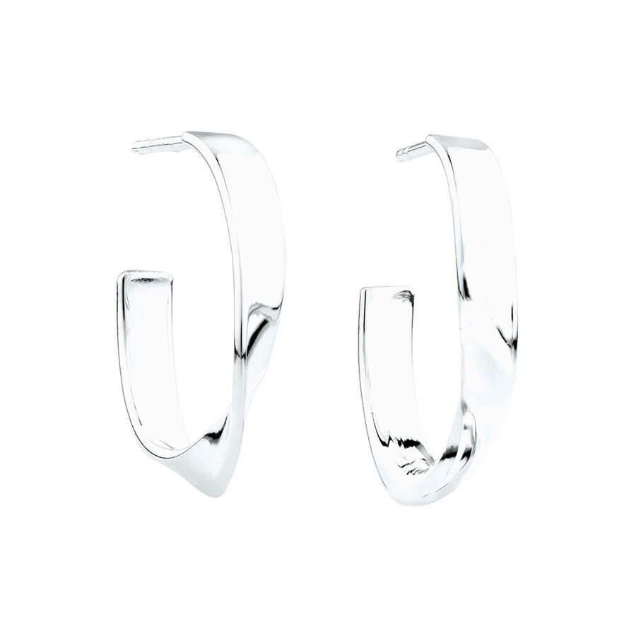 Twist Hoop Earrings in Sterling Silver