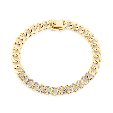 Cuban Link Bracelet with 0.33 Carat TW of Diamonds in 10kt Yellow Gold