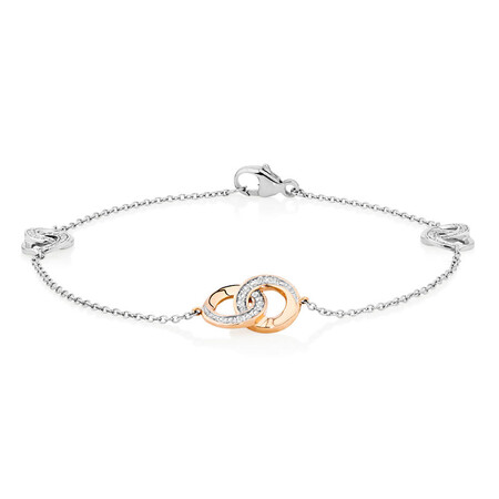 Bracelet with Diamonds in 10kt Rose Gold & Sterling Silver