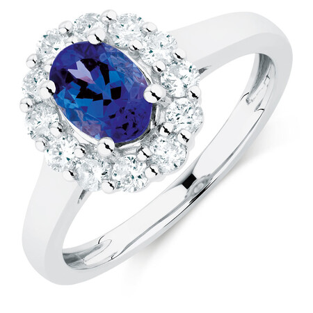 Ring with Tanzanite & 1/2 Carat TW of Diamonds in 10kt White Gold