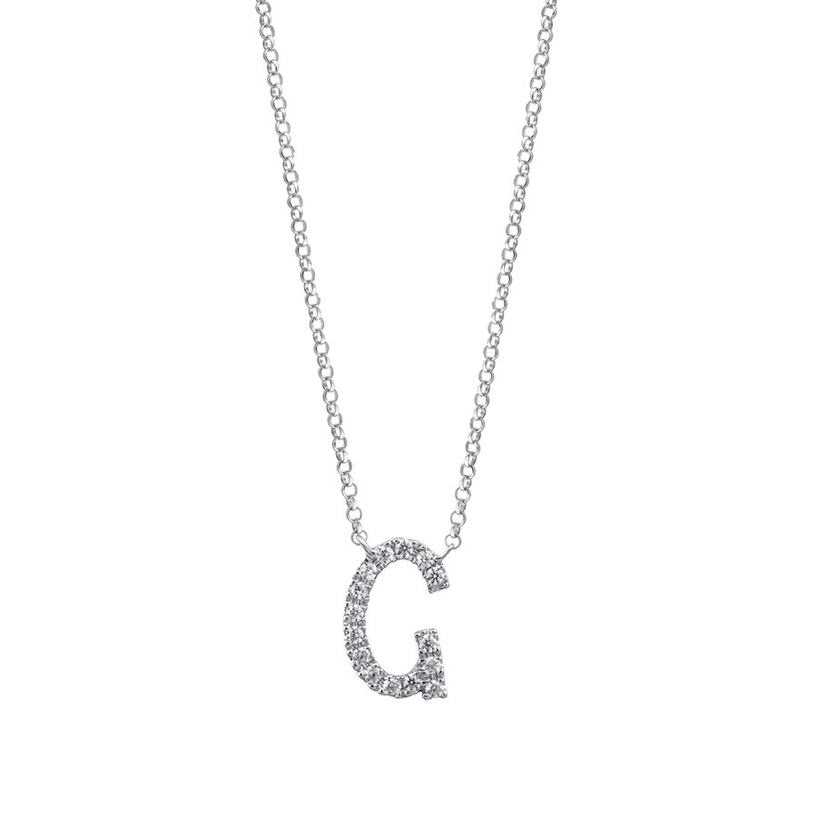 """G"" Initial necklace with 0.10 Carat TW of Diamonds in 10kt White Gold"