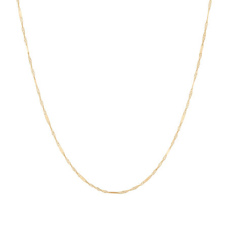 """40cm (16"""") Singapore Chain in 10kt Yellow Gold"""