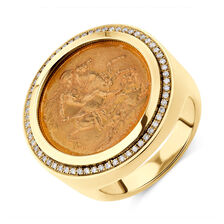 Sovereign Coin Ring with 0.30 Carat TW of Diamonds in 10kt & 22kt Yellow Gold