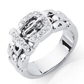 Belt Ring with 0.13 Carat TW of Diamonds in 10kt White Gold