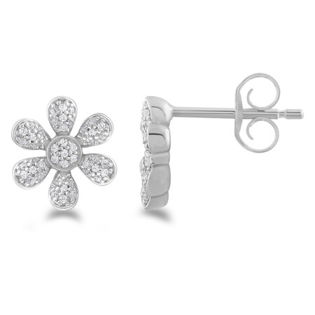 Flower Stud Earrings with 0.16 Carat TW Of Diamonds in 10kt White Gold