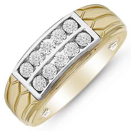 Ring with 0.10 Carat TW of Diamonds in 10kt Yellow and White Gold