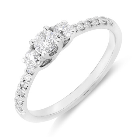 Prelude Three Stone Engagement Ring with 0.50 Carat TW of Diamonds in 10kt White Gold