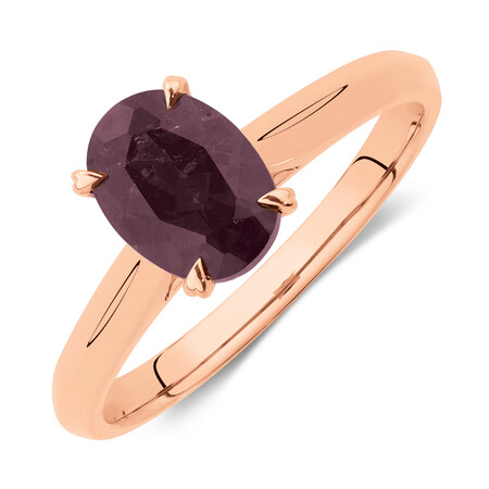 Oval Ring with Rhodolite Garnet in 10kt Rose Gold