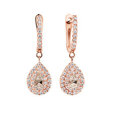 Michael Hill Designer Fashion Drop Earrings with Morganite & 0.38 Carat TW of Diamonds in 10kt Rose Gold