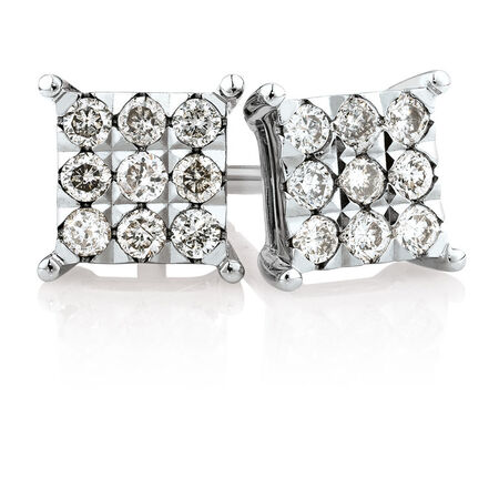Cluster Stud Earrings with 1/4 Carat TW of Diamonds in 10kt White Gold
