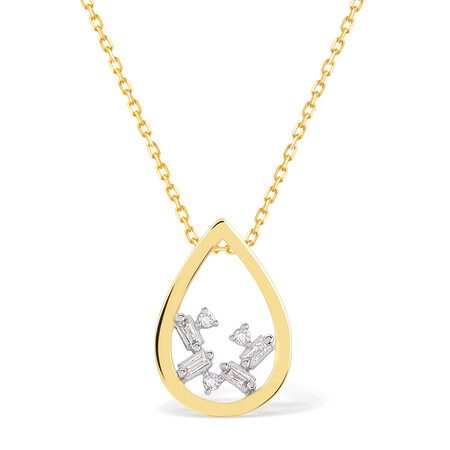 Pear Necklace With Diamonds In 10kt Yellow Gold