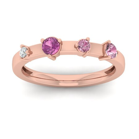 Stacker Ring with Rhodalite Garnet & Diamond in 10kt Rose Gold