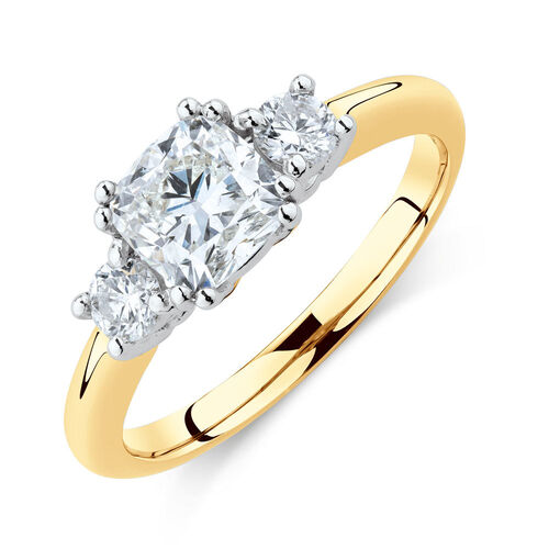 Three Stone Engagement Ring with 1.2 Carat TW of Diamonds in 14kt Yellow & White Gold