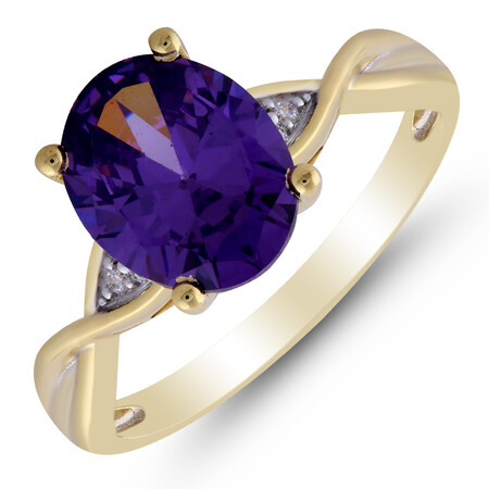 Twist Ring with Amethyst & Diamond in 10kt Yellow Gold