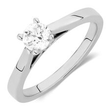 Online Exclusive - Certified Solitaire Engagement Ring with a 0.45 Carat Diamond in 14kt White Gold