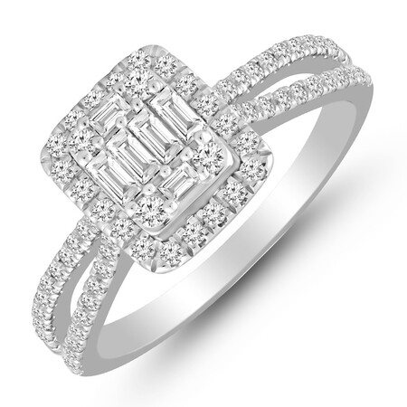Cluster Ring with 0.70 Carat TW of Diamonds in 14kt White Gold