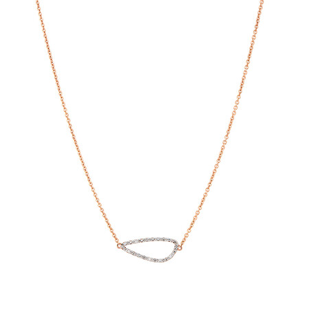 Organic Shaped Necklace with Diamonds in 10kt Rose Gold