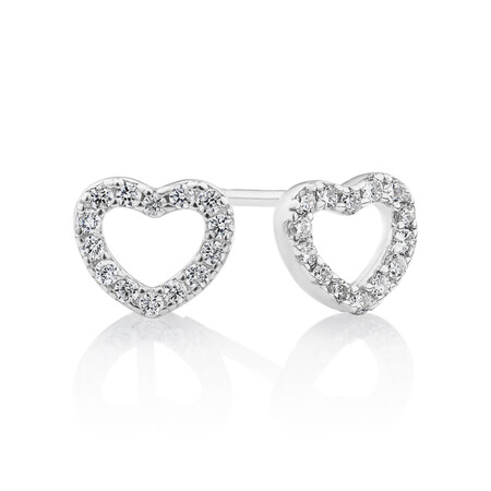 Heart Stud Earrings with Cubic Zirconia in Sterling Silver