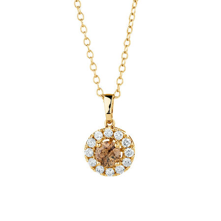 Natural Champagne Pendant with a 1/2 Carat TW of Champagne & White Diamonds in 10kt Yellow Gold