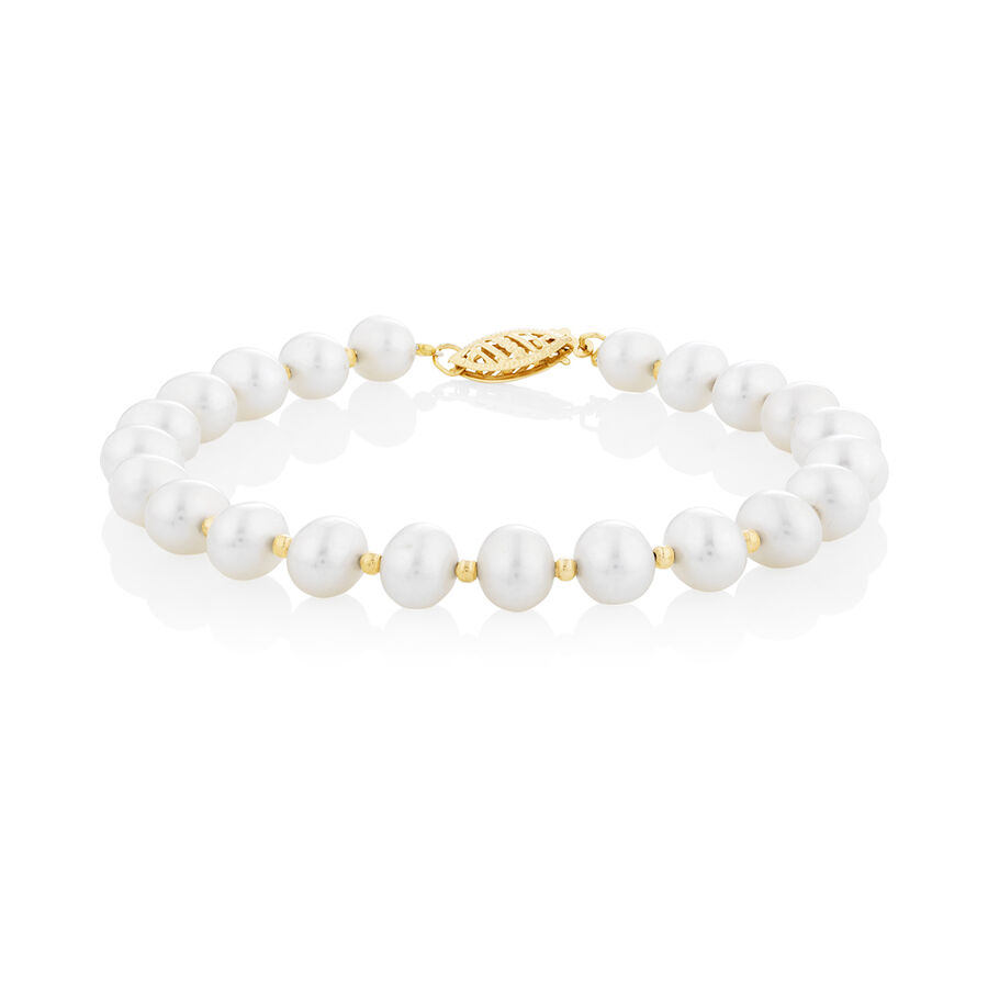 Pearl bracelet in 10kt Yellow Gold