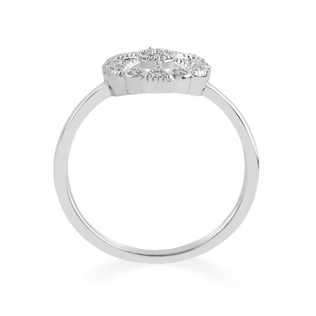 Circle Ring with Diamonds in Sterling Silver