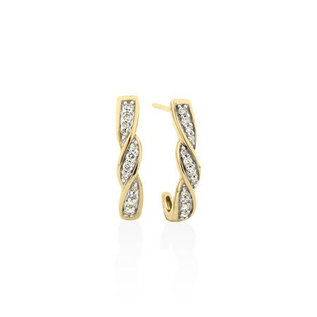 Hoop Stud Earrings with 0.25 Carat TW of Diamonds in 10kt Yellow Gold