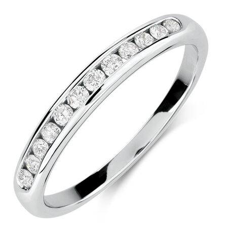 Wedding Band with 1/4 Carat TW of Diamonds in 10kt White Gold