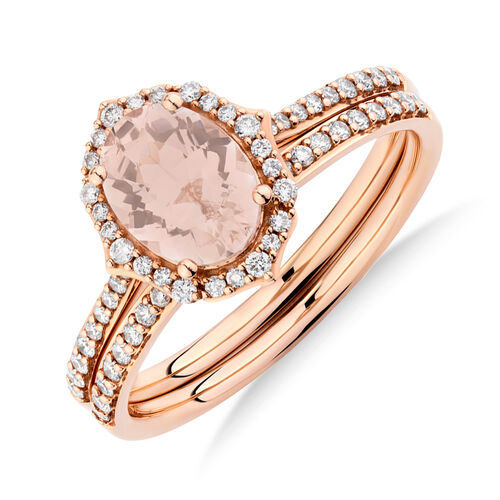Bridal Set with 0.30 Carat TW of Diamonds & Morganite in 14kt Rose Gold