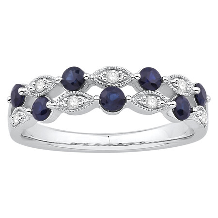 Two Row Ring with Sapphire & Diamond in 10kt White Gold