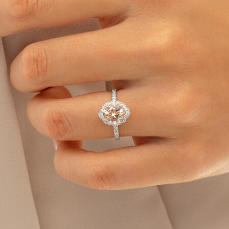 Sir Michael Hill Designer Engagement Ring with Morganite & 0.40 Carat TW of Diamonds in 18kt White Gold