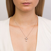 Cross Pendant with Diamonds in Sterling Silver