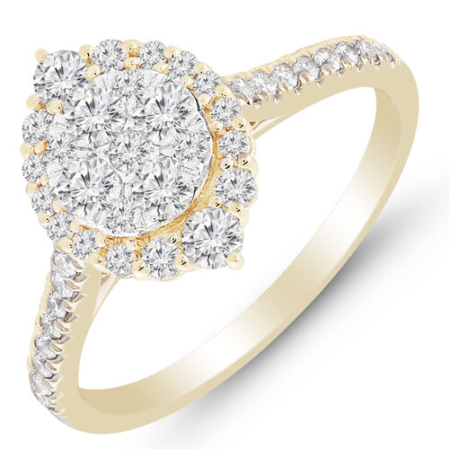 Cluster Ring with 3/4 Carat TW of Diamonds in 10kt Yellow Gold