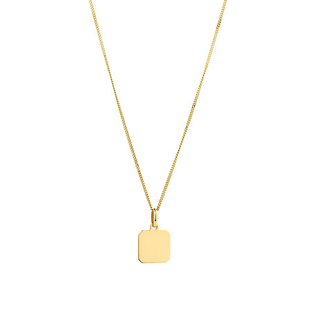 Square Disc Pendant in 10kt Yellow Gold