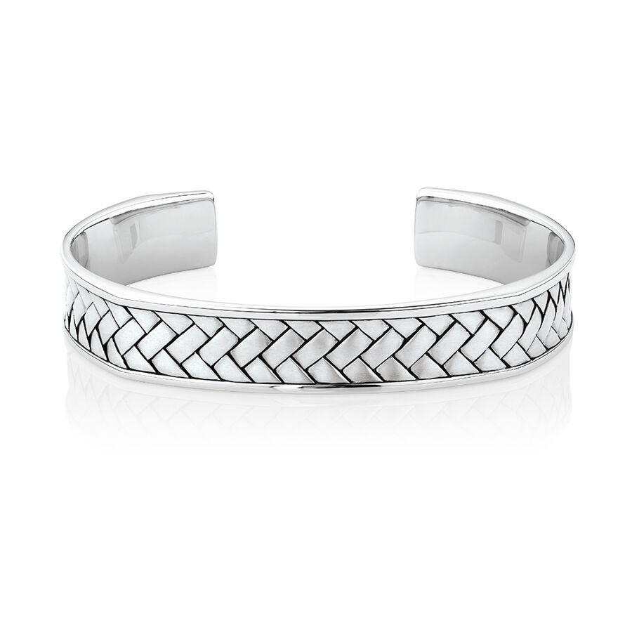 Weave Pattern Cuff Bracelet in Sterling Silver