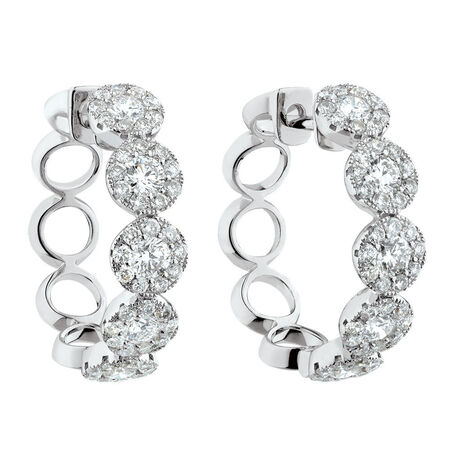 Bubble Hoop Earrings with 1.3 Carat TW of Diamonds in 14kt White Gold
