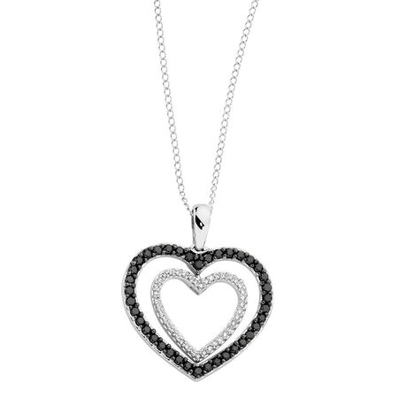 Online Exclusive - Pendant with 1/2 Carat TW of White & Enhanced Black Diamonds in 10kt White Gold