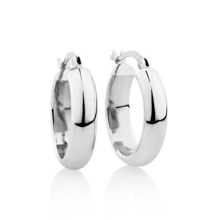 20mm Round Hoop Earrings in Sterling Silver