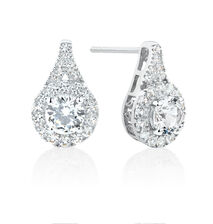 Earrings with Created White Sapphire in Sterling Silver