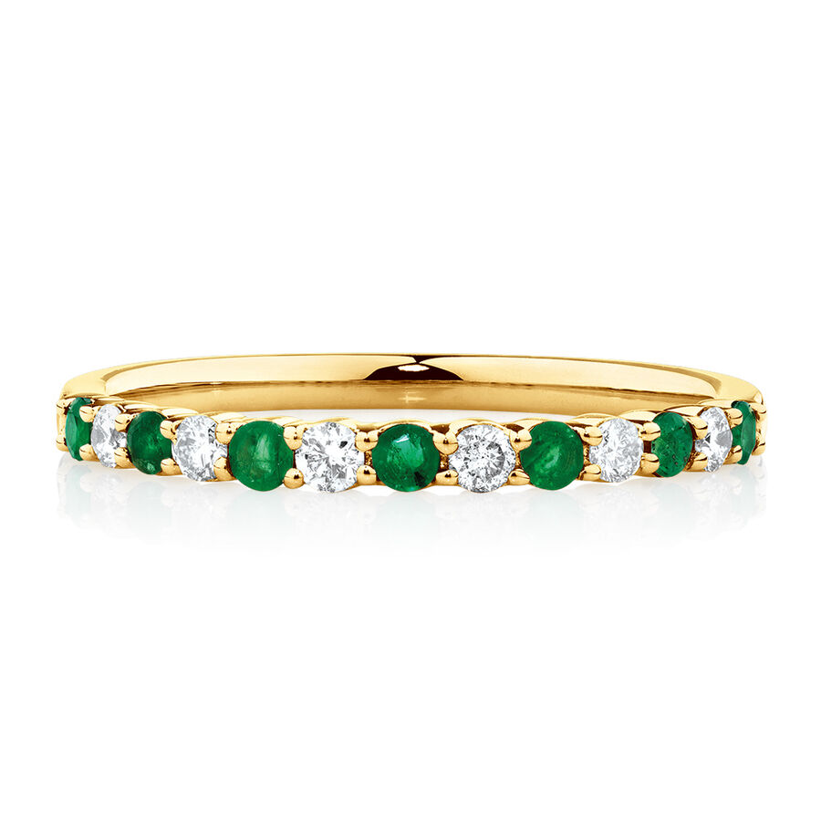 Stacker Ring with Natural Emerald & 1/7 Carat TW of Diamonds in 10kt Yellow Gold